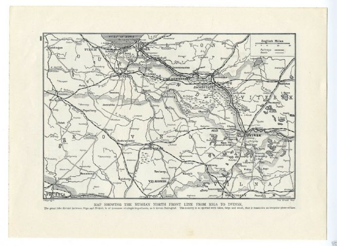 1915 MAP RUSSIAN NORTH FRONT LINE Riga to Dvinsk WW1 Russian Refugees
